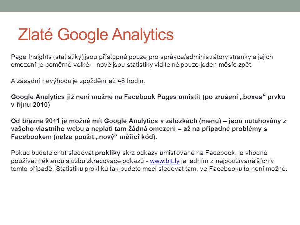 Zlaté Google Analytics Page Insights (statistiky) jsou přístupné pouze pro správce/administrátory stránky a jejich omezení je poměrně velké – nově jso