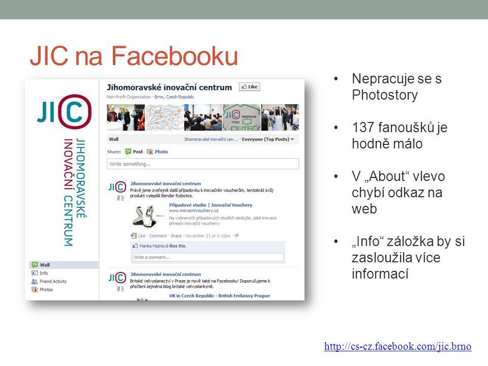 """JIC na Facebooku Nepracuje se s Photostory 137 fanoušků je hodně málo V """"About"""" vlevo chybí odkaz na web """"Info"""" záložka by si zasloužila více informac"""