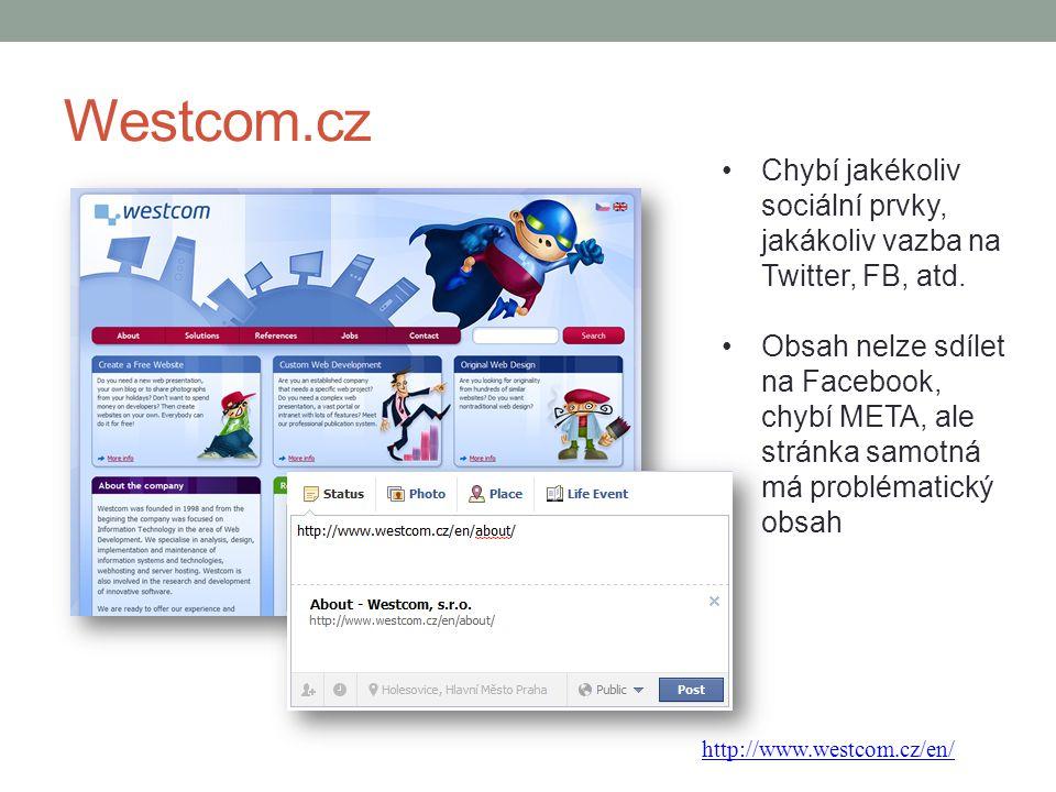 Westcom.cz Chybí jakékoliv sociální prvky, jakákoliv vazba na Twitter, FB, atd. Obsah nelze sdílet na Facebook, chybí META, ale stránka samotná má pro