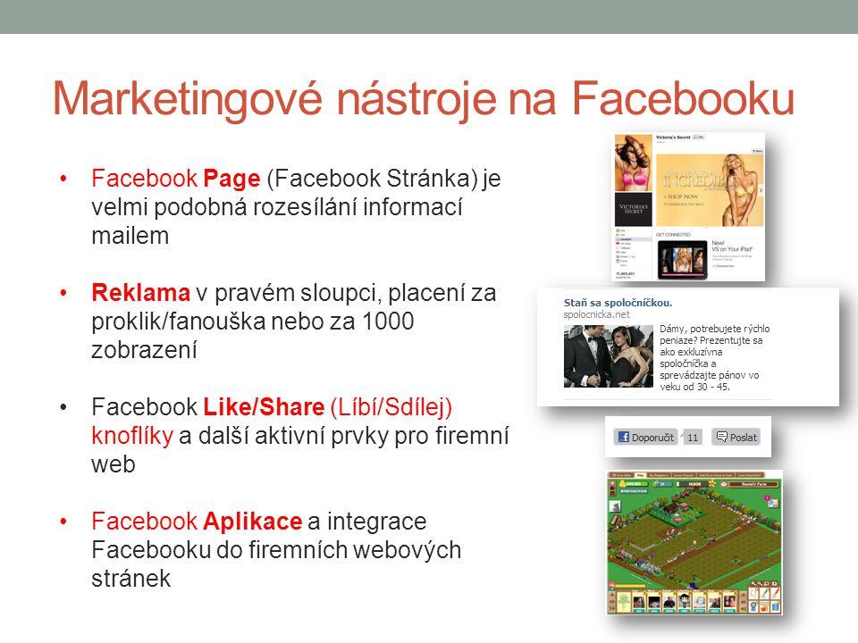Marketingové nástroje na Facebooku Facebook Page (Facebook Stránka) je velmi podobná rozesílání informací mailem Reklama v pravém sloupci, placení za