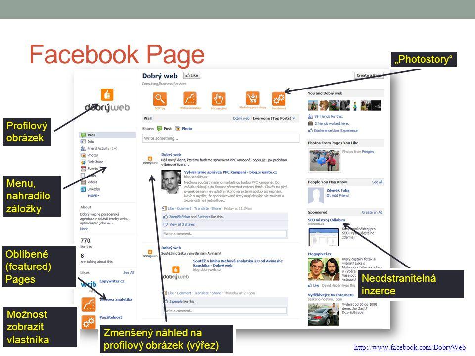 """Facebook Page Profilový obrázek Menu, nahradilo záložky Oblíbené (featured) Pages """"Photostory"""" Zmenšený náhled na profilový obrázek (výřez) Neodstrani"""