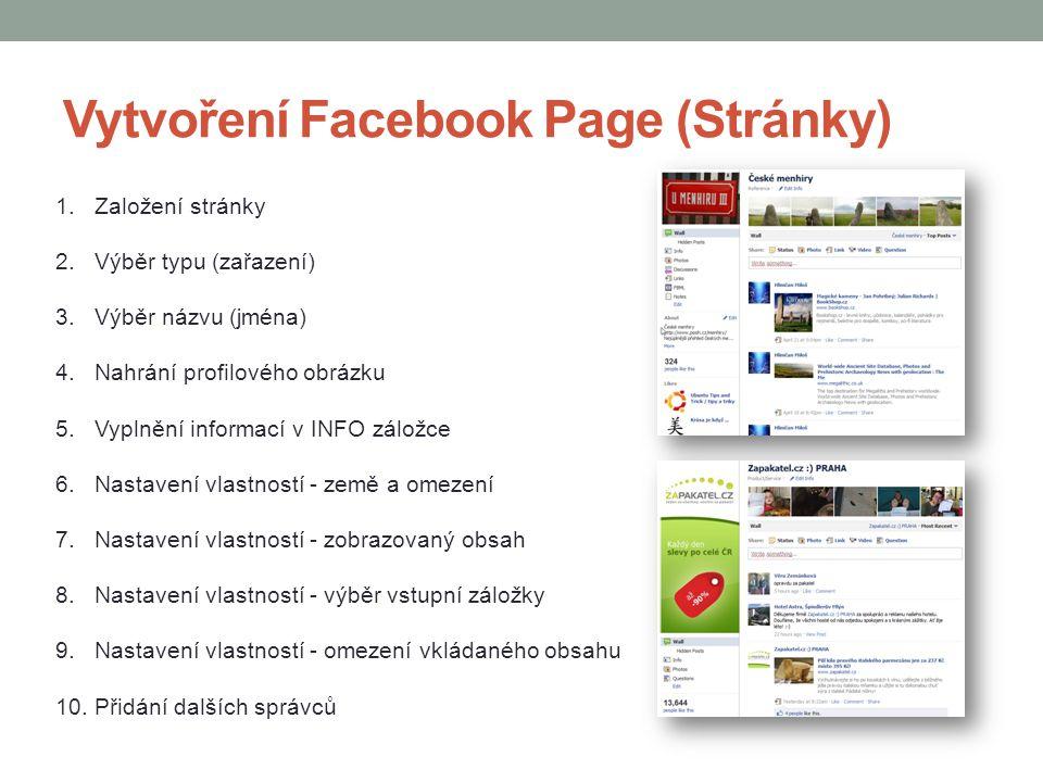 Vytvoření Facebook Page (Stránky) 1.Založení stránky 2.Výběr typu (zařazení) 3.Výběr názvu (jména) 4.Nahrání profilového obrázku 5.Vyplnění informací
