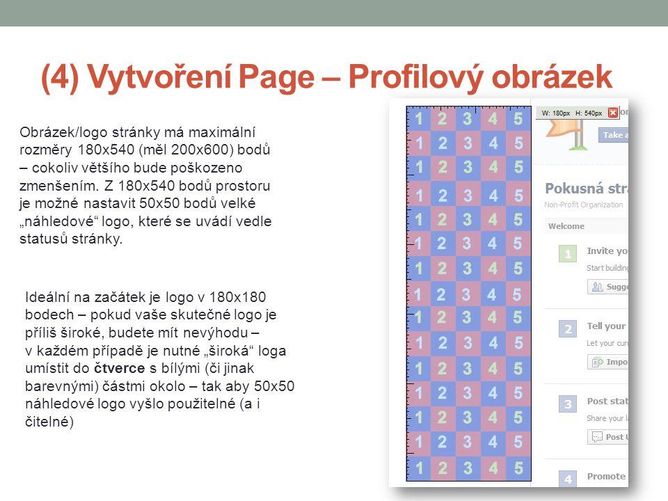 (4) Vytvoření Page – Profilový obrázek Obrázek/logo stránky má maximální rozměry 180x540 (měl 200x600) bodů – cokoliv většího bude poškozeno zmenšením