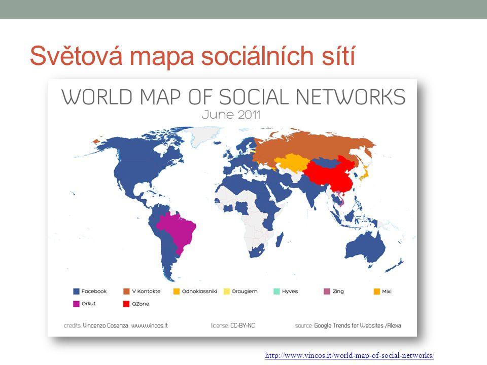 Světová mapa sociálních sítí http://www.vincos.it/world-map-of-social-networks/
