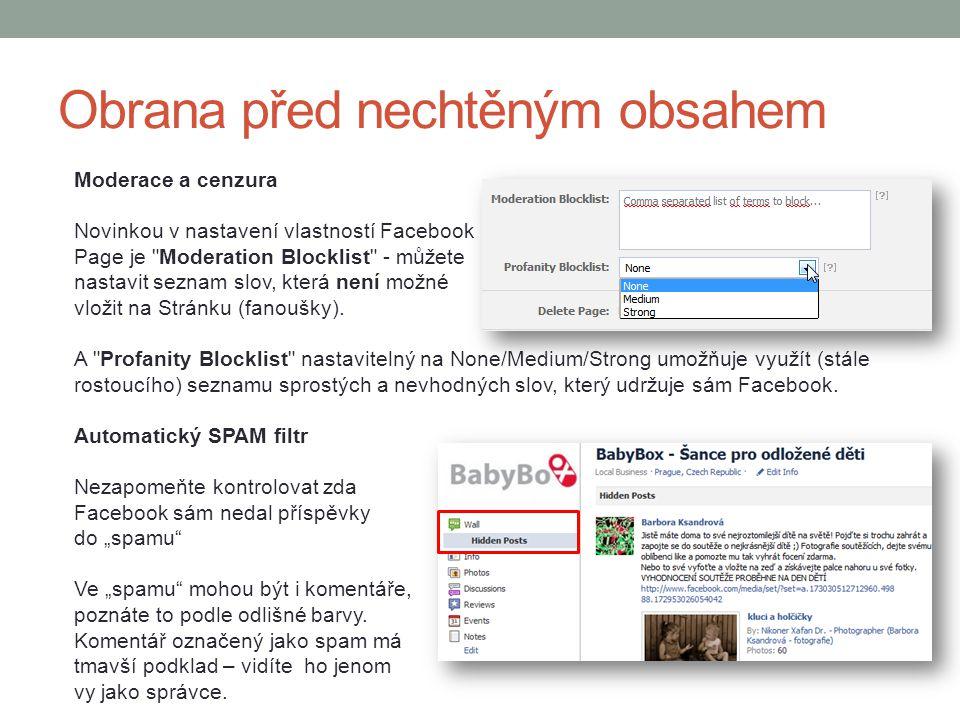 Moderace a cenzura Novinkou v nastavení vlastností Facebook Page je