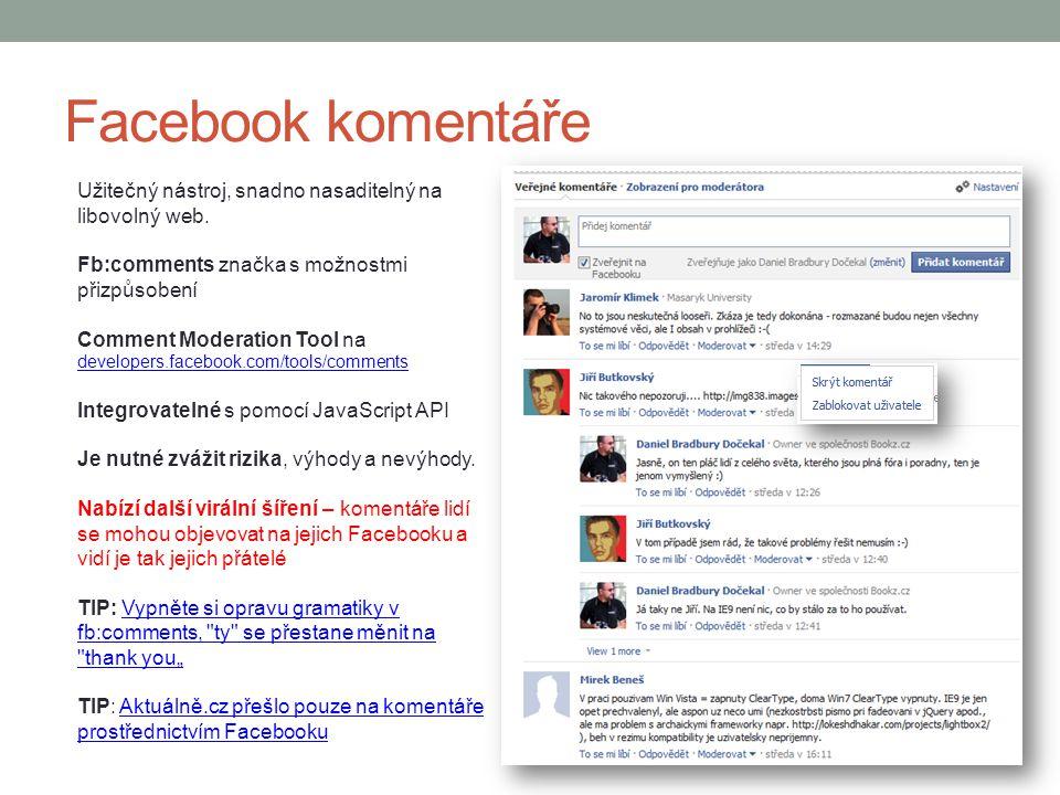 Facebook komentáře Užitečný nástroj, snadno nasaditelný na libovolný web. Fb:comments značka s možnostmi přizpůsobení Comment Moderation Tool na devel