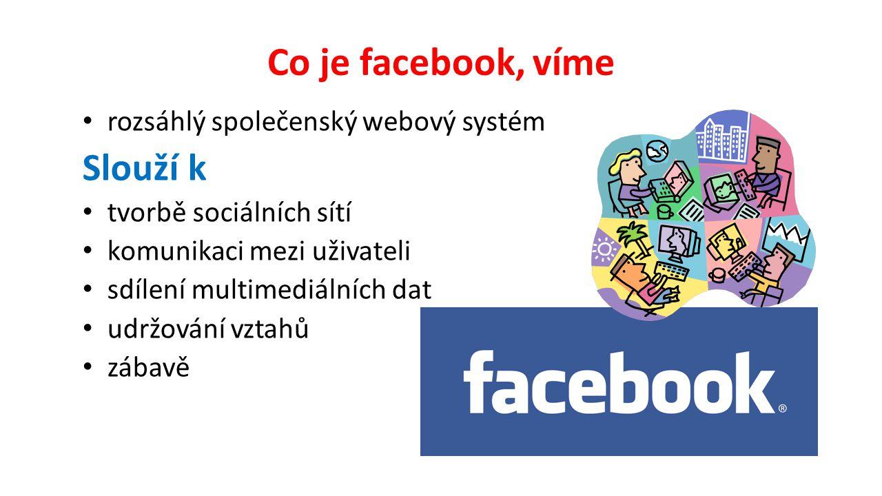 Co je facebook, víme rozsáhlý společenský webový systém Slouží k tvorbě sociálních sítí komunikaci mezi uživateli sdílení multimediálních dat udržování vztahů zábavě