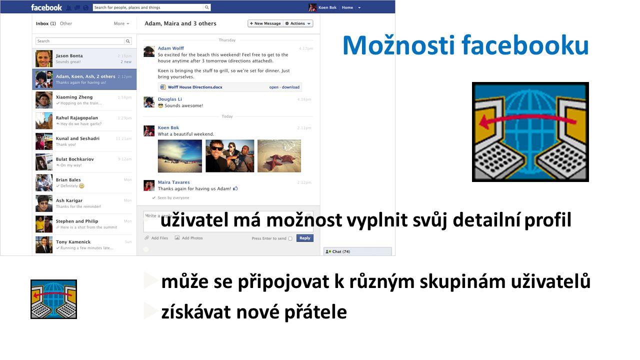 Možnosti facebooku uživatel má možnost vyplnit svůj detailní profil  může se připojovat k různým skupinám uživatelů  získávat nové přátele