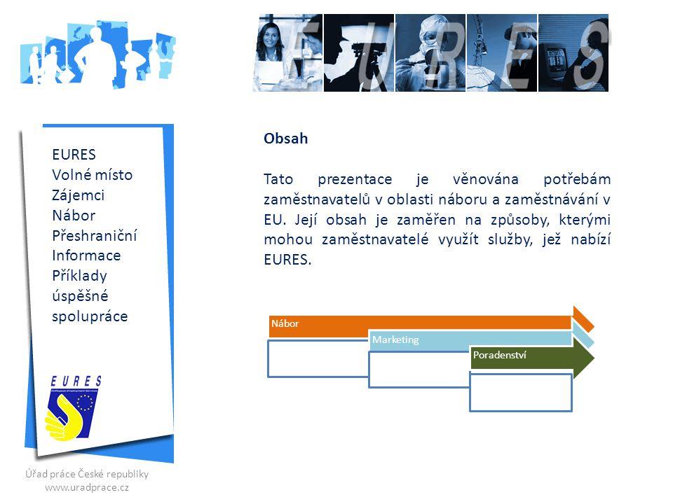 Služby pro zaměstnavatele (ČR) Organizace výběrových řízení, informačních schůzek, seminářů a přednášek pro zaměstnavatele (integrace Eures a VSZ) Šíření volných míst do států EU/EHP Poradenství při zaměstnávání občanů EU/EHP Zastupování zaměstnavatelů na mezinárodních burzách práce v ČR + EU Organizace veletrhů pracovních příležitostí – např.:, JOB EXPO, Profesia Days, Jobdays Praha, 2008, 2009, 2010, Career Days České Budějovice; EDUCA Liberec, 1.