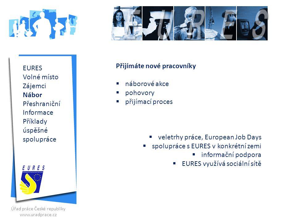 EURES Volné místo Zájemci Nábor Volný pohyb Informace Příklady úspěšné spolupráce Volný pohyb K přeshraničním aktivitám patří mezi jinými vysílání pracovníků.