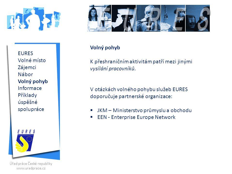 EURES Volné místo Zájemci Nábor Přeshraniční Informace Příklady úspěšné spolupráce Kde najít správné informace.