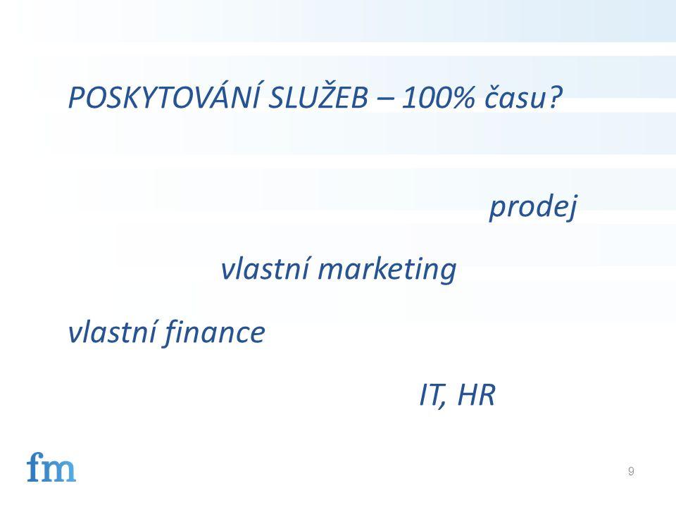 9 POSKYTOVÁNÍ SLUŽEB – 100% času prodej vlastní marketing vlastní finance IT, HR
