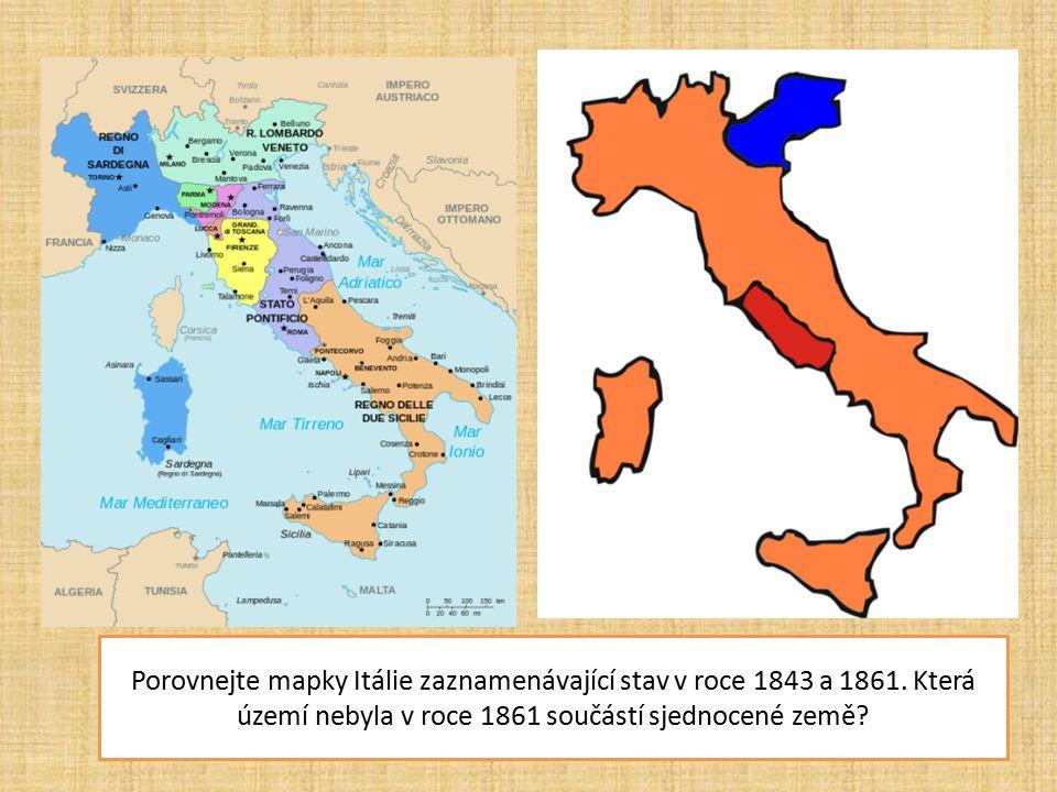 Porovnejte mapky Itálie zaznamenávající stav v roce 1843 a 1861. Která území nebyla v roce 1861 součástí sjednocené země?