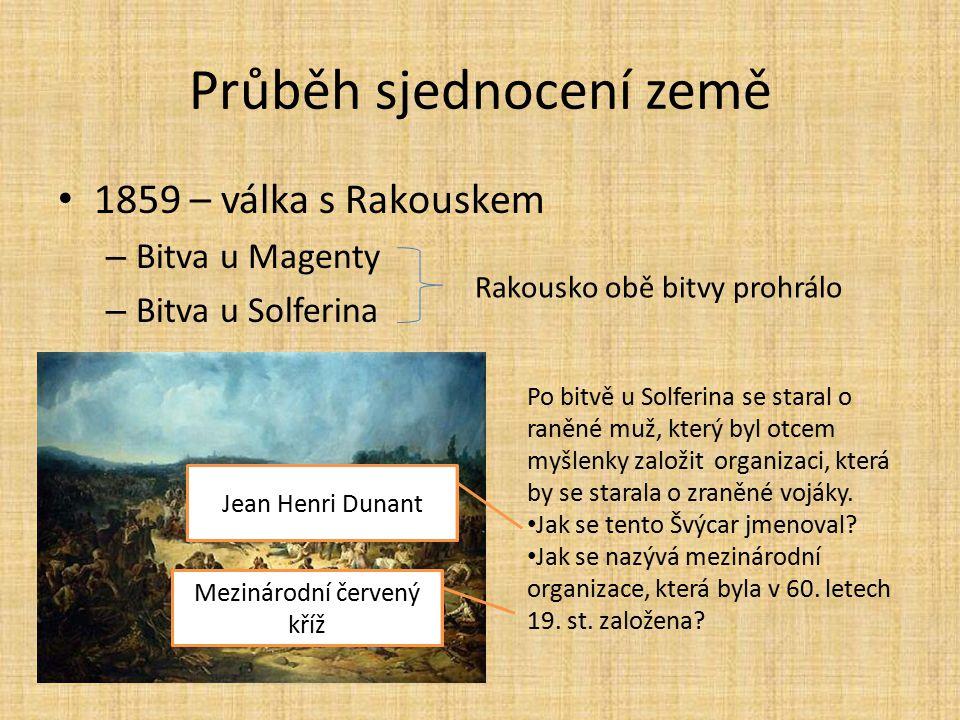 Průběh sjednocení země 1859 – válka s Rakouskem – Bitva u Magenty – Bitva u Solferina Rakousko obě bitvy prohrálo Po bitvě u Solferina se staral o ran