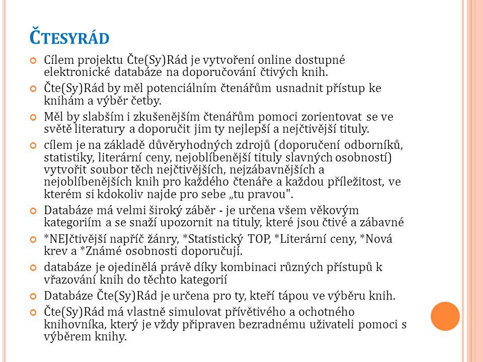 Č TESYRÁD Cílem projektu Čte(Sy)Rád je vytvoření online dostupné elektronické databáze na doporučování čtivých knih. Čte(Sy)Rád by měl potenciálním čt