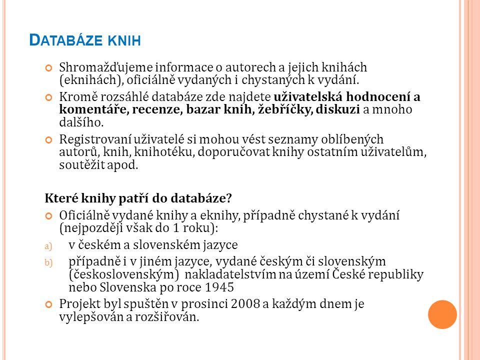 Č ESKOSLOVENSKÁ BIBLIOGRAFICKÁ DATABÁZE - CBDB.