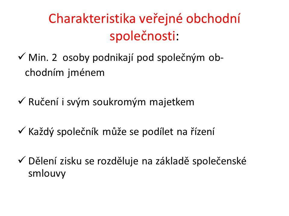Charakteristika veřejné obchodní společnosti: Min.