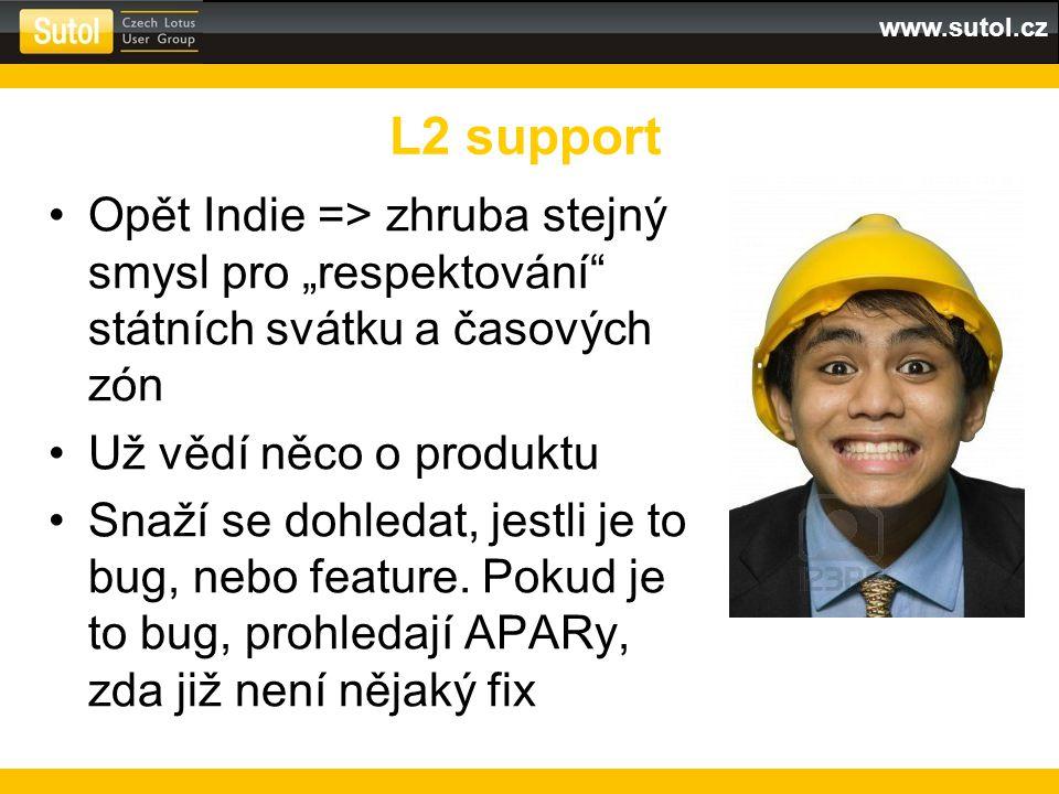 www.sutol.cz Pokusí se problém opravit standardními prostředky –Junior Ind klikáním v konfiguraci –Senior Ind spuštěním příkazu / skriptu Nejsou-li úspěšní, předávají na L3 support => vydrželi jste L2 support