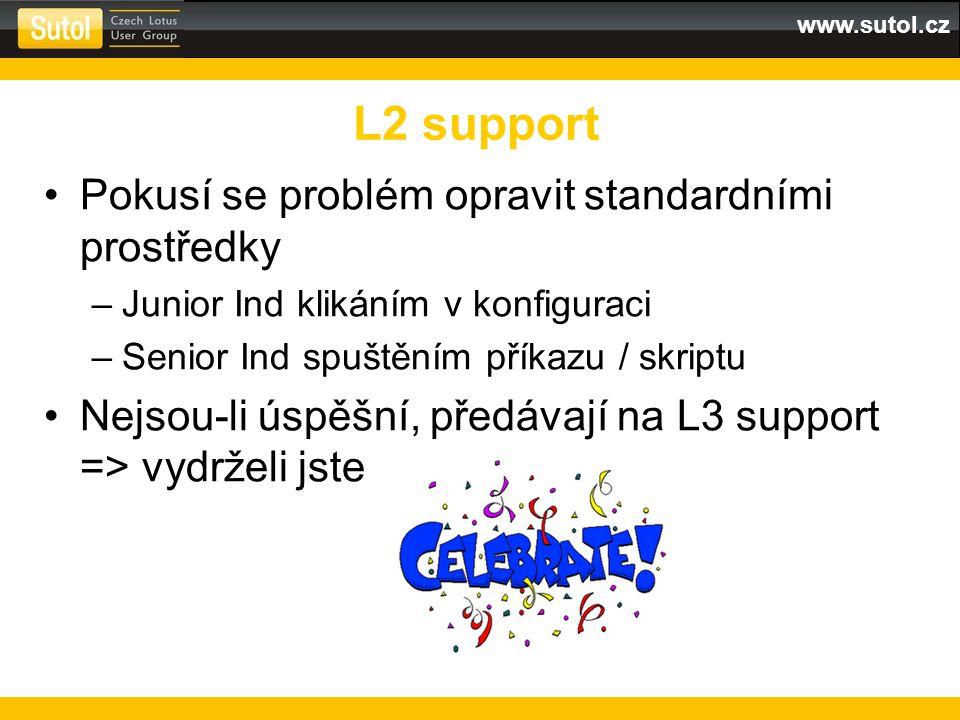 www.sutol.cz Pokusí se problém opravit standardními prostředky –Junior Ind klikáním v konfiguraci –Senior Ind spuštěním příkazu / skriptu Nejsou-li ús