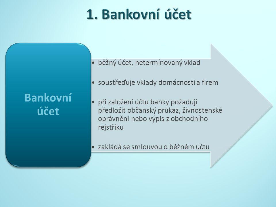 běžný účet, netermínovaný vklad soustřeďuje vklady domácností a firem při založení účtu banky požadují předložit občanský průkaz, živnostenské oprávnění nebo výpis z obchodního rejstříku zakládá se smlouvou o běžném účtu Bankovní účet