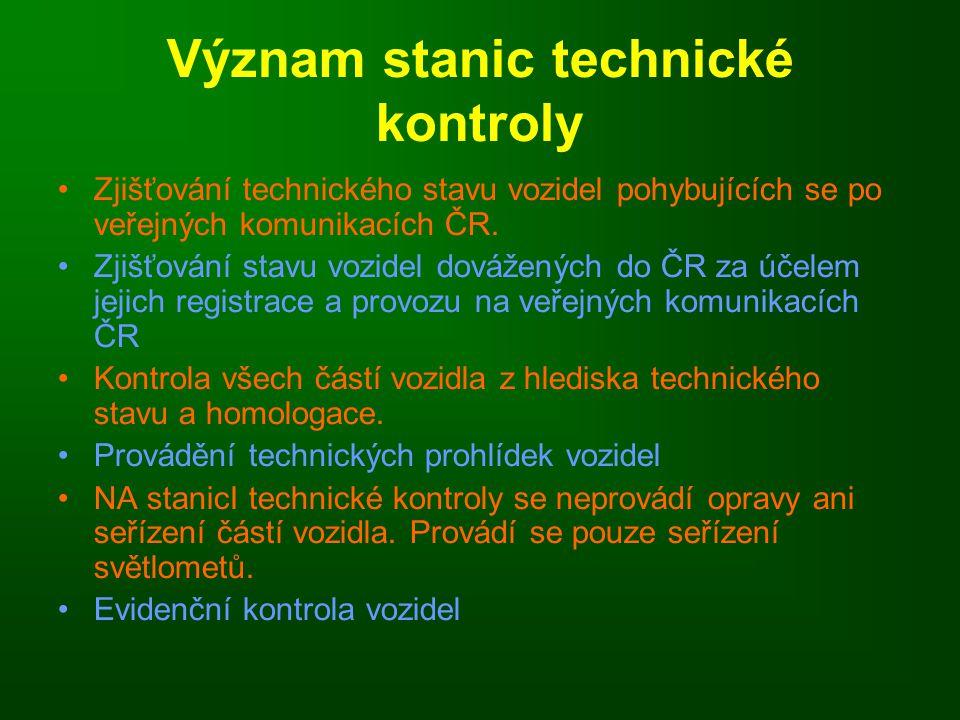 Význam stanic technické kontroly Zjišťování technického stavu vozidel pohybujících se po veřejných komunikacích ČR.