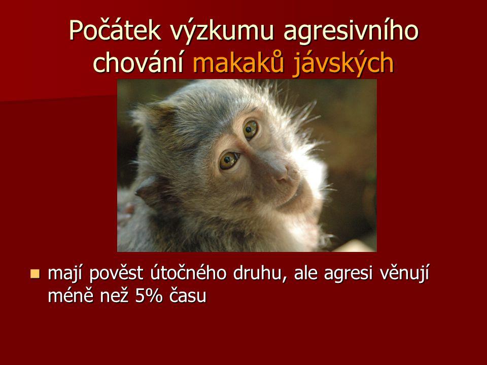 Počátek výzkumu agresivního chování makaků jávských mají pověst útočného druhu, ale agresi věnují méně než 5% času mají pověst útočného druhu, ale agr