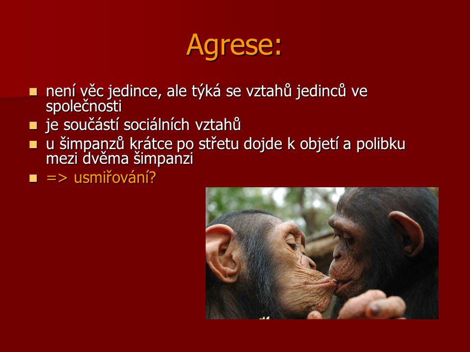 Agrese: není věc jedince, ale týká se vztahů jedinců ve společnosti není věc jedince, ale týká se vztahů jedinců ve společnosti je součástí sociálních