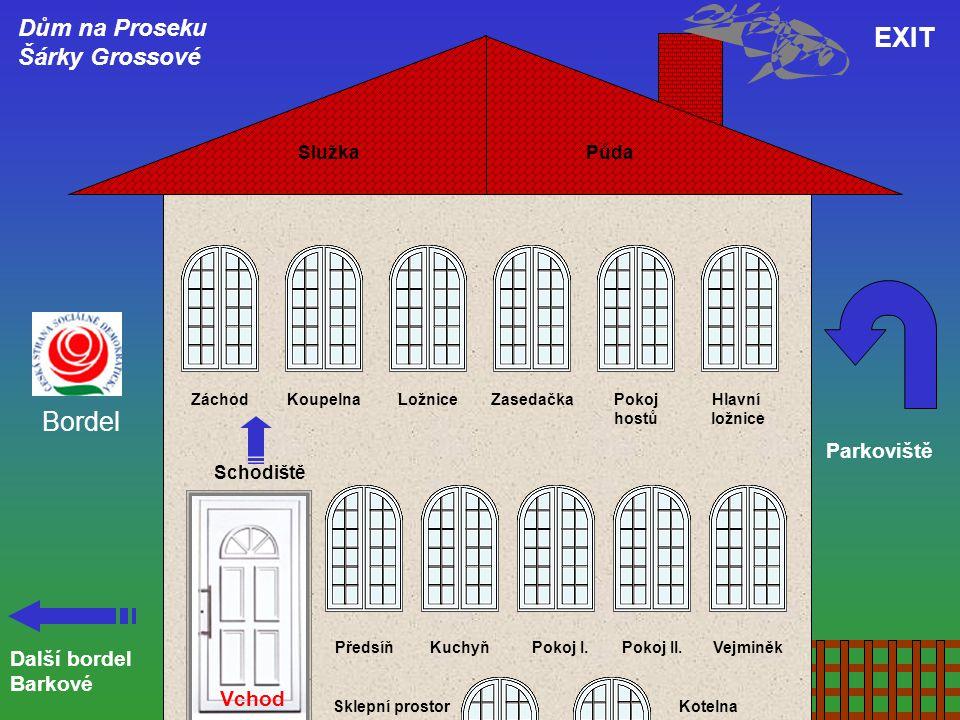 Půda EXIT Další bordel Barkové Parkoviště Dům na Proseku Šárky Grossové Vchod Schodiště PředsíňKuchyňPokoj I.Pokoj II.