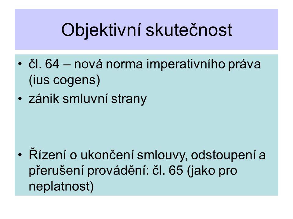 Objektivní skutečnost čl. 64 – nová norma imperativního práva (ius cogens) zánik smluvní strany Řízení o ukončení smlouvy, odstoupení a přerušení prov
