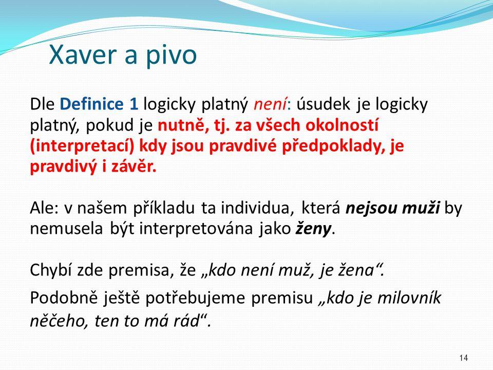 Xaver a pivo Dle Definice 1 logicky platný není: úsudek je logicky platný, pokud je nutně, tj.
