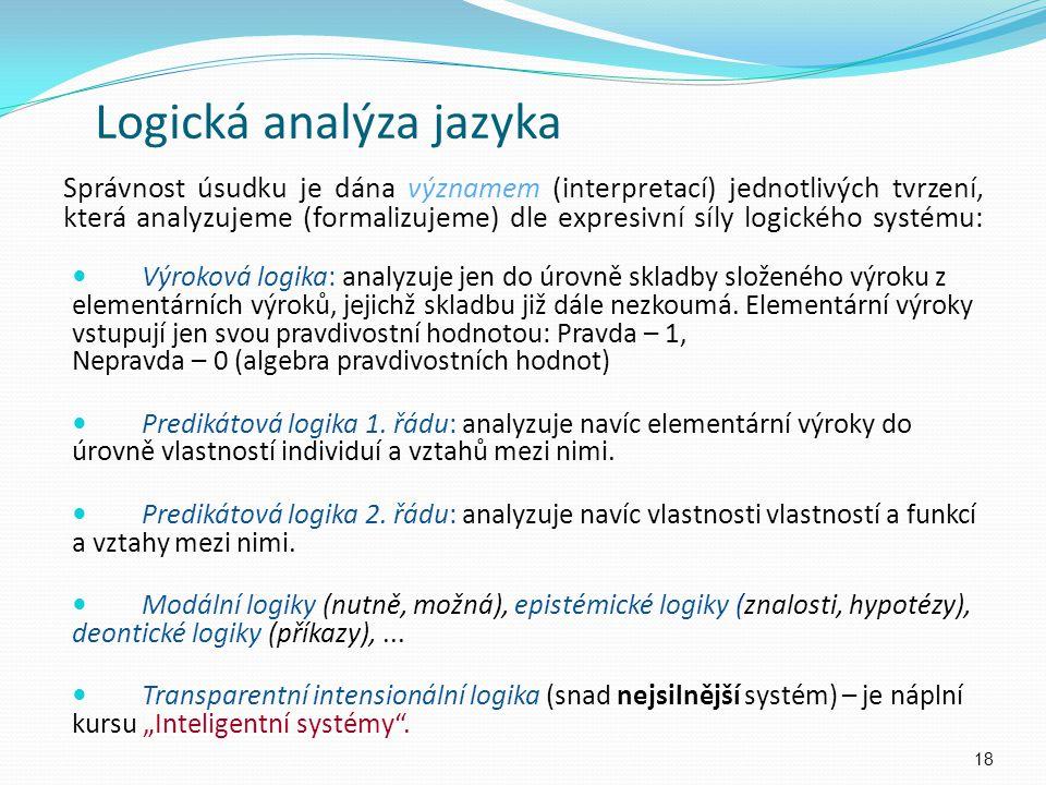 Správnost úsudku je dána významem (interpretací) jednotlivých tvrzení, která analyzujeme (formalizujeme) dle expresivní síly logického systému: 18 Log