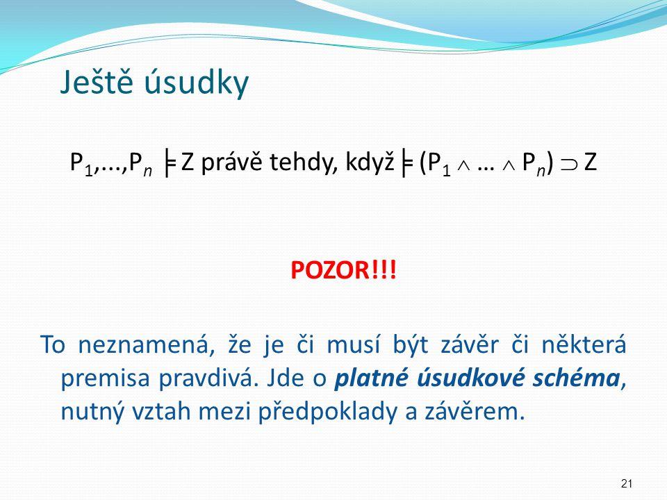 P 1,...,P n ╞ Z právě tehdy, když ╞ (P 1  …  P n )  Z POZOR!!.