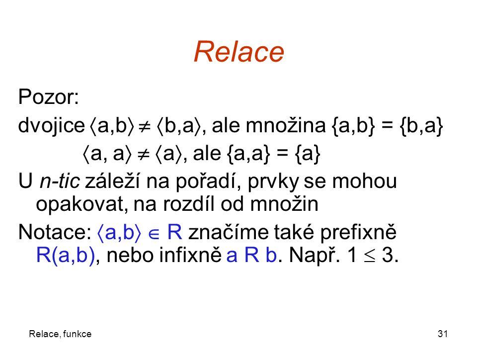 31Relace, funkce Relace Pozor: dvojice  a,b    b,a , ale množina {a,b} = {b,a}  a, a    a , ale {a,a} = {a} U n-tic záleží na pořadí, prvky