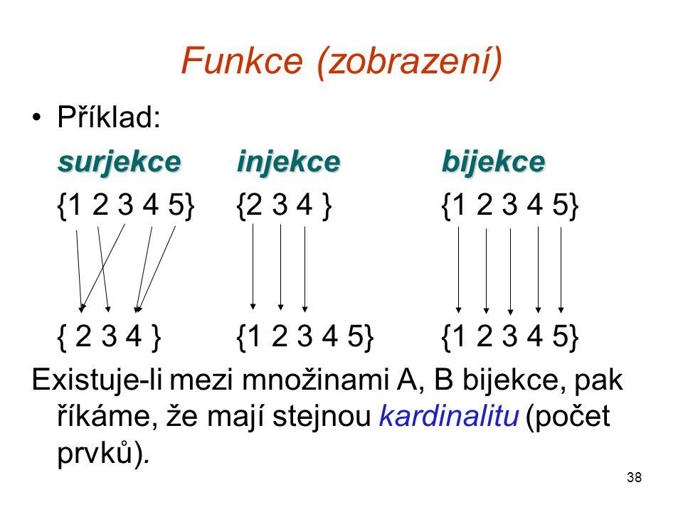 38 Funkce (zobrazení) Příklad: surjekceinjekcebijekce {1 2 3 4 5}{2 3 4 }{1 2 3 4 5} { 2 3 4 }{1 2 3 4 5}{1 2 3 4 5} Existuje-li mezi množinami A, B b