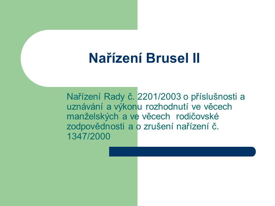 Nařízení Brusel II Nařízení Rady č. 2201/2003 o příslušnosti a uznávání a výkonu rozhodnutí ve věcech manželských a ve věcech rodičovské zodpovědnosti