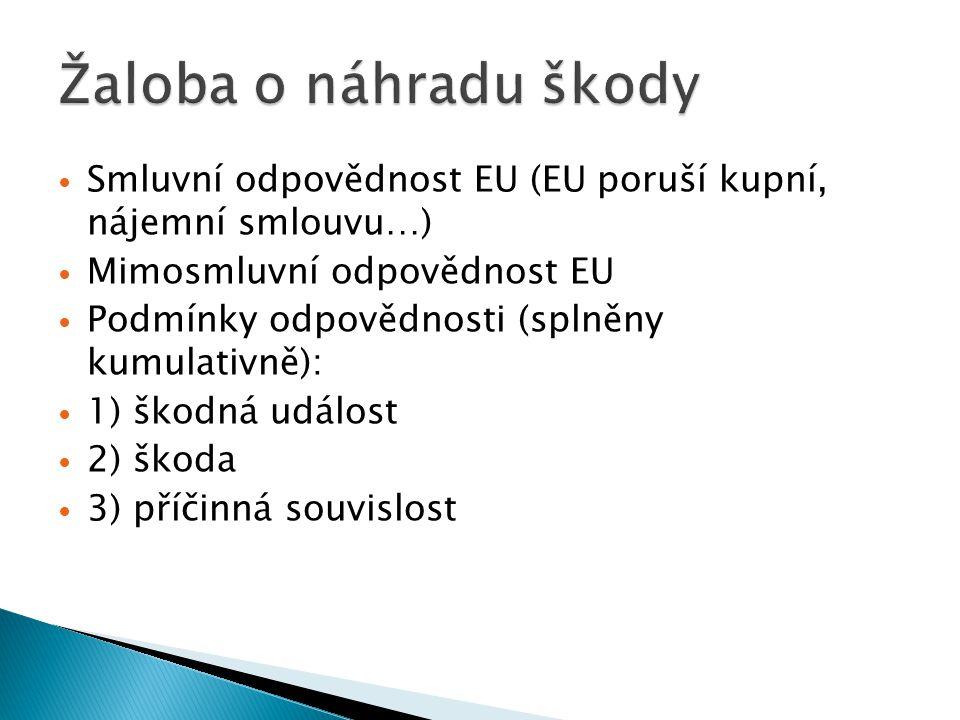 Smluvní odpovědnost EU (EU poruší kupní, nájemní smlouvu…) Mimosmluvní odpovědnost EU Podmínky odpovědnosti (splněny kumulativně): 1) škodná událost 2