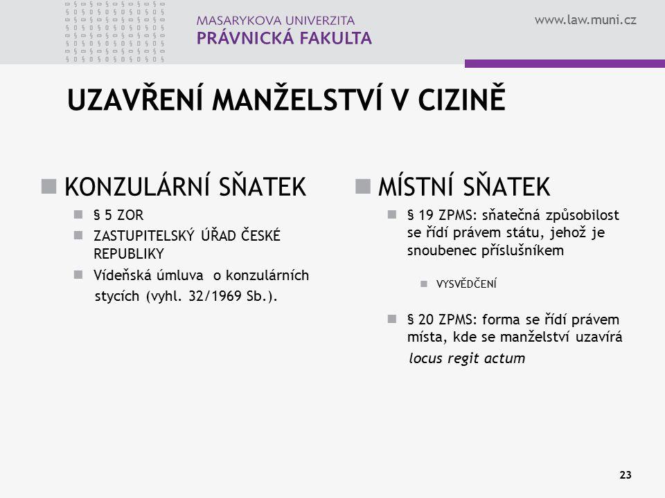 www.law.muni.cz UZAVŘENÍ MANŽELSTVÍ V CIZINĚ KONZULÁRNÍ SŇATEK § 5 ZOR ZASTUPITELSKÝ ÚŘAD ČESKÉ REPUBLIKY Vídeňská úmluva o konzulárních stycích (vyhl