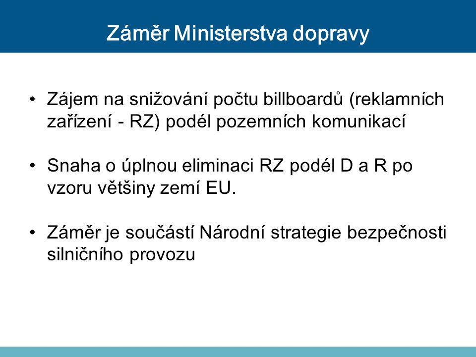 Záměr Ministerstva dopravy Zájem na snižování počtu billboardů (reklamních zařízení - RZ) podél pozemních komunikací Snaha o úplnou eliminaci RZ podél