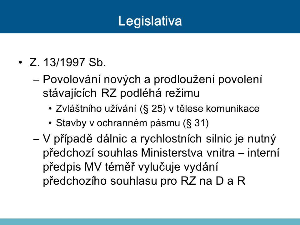 Legislativa Z. 13/1997 Sb. –Povolování nových a prodloužení povolení stávajících RZ podléhá režimu Zvláštního užívání (§ 25) v tělese komunikace Stavb