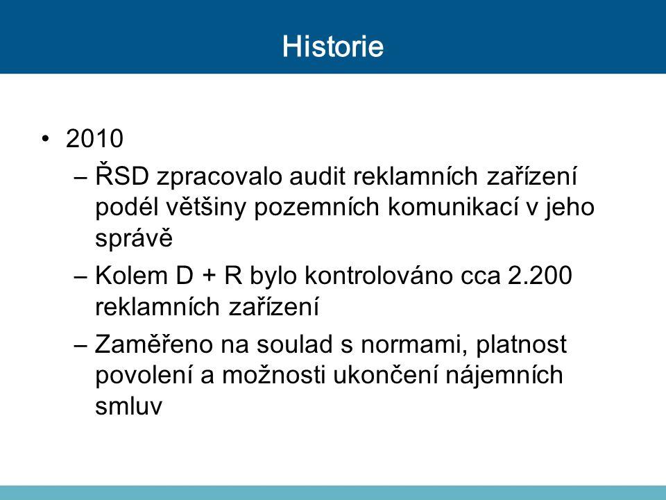Historie 2010 –ŘSD zpracovalo audit reklamních zařízení podél většiny pozemních komunikací v jeho správě –Kolem D + R bylo kontrolováno cca 2.200 rekl