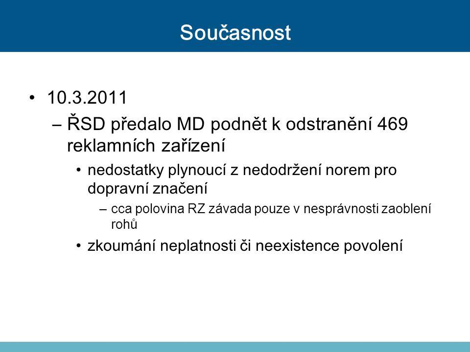 Současnost 10.3.2011 –ŘSD předalo MD podnět k odstranění 469 reklamních zařízení nedostatky plynoucí z nedodržení norem pro dopravní značení –cca polo