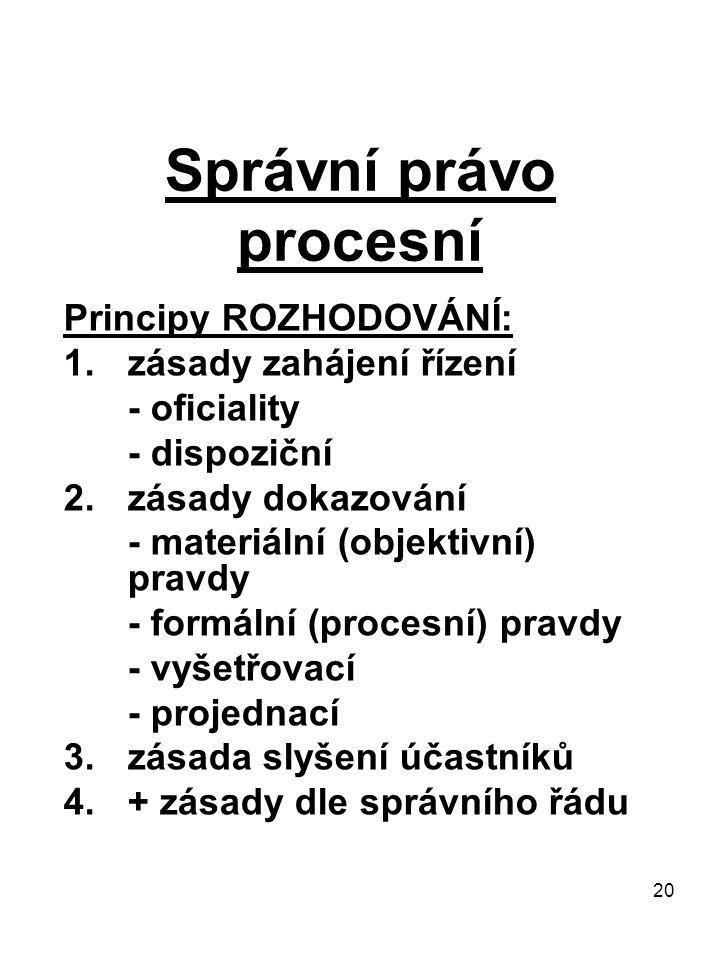 20 Správní právo procesní Principy ROZHODOVÁNÍ: 1.zásady zahájení řízení - oficiality - dispoziční 2.zásady dokazování - materiální (objektivní) pravdy - formální (procesní) pravdy - vyšetřovací - projednací 3.zásada slyšení účastníků 4.+ zásady dle správního řádu
