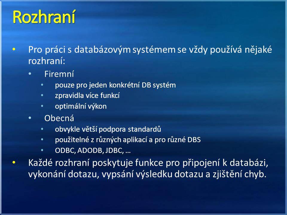 Pro práci s databázovým systémem se vždy používá nějaké rozhraní: Firemní pouze pro jeden konkrétní DB systém zpravidla více funkcí optimální výkon Ob