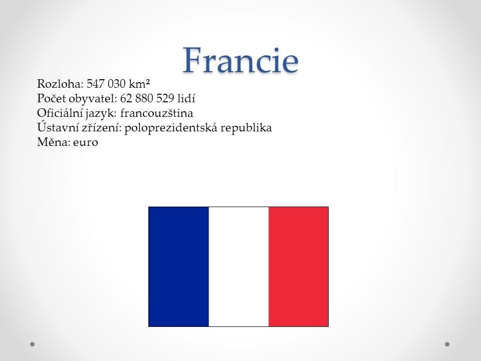 Francie Rozloha: 547 030 km² Počet obyvatel: 62 880 529 lidí Oficiální jazyk: francouzština Ústavní zřízení: poloprezidentská republika Měna: euro