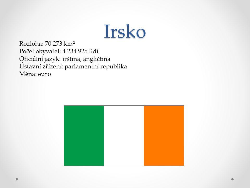 Irsko Rozloha: 70 273 km² Počet obyvatel: 4 234 925 lidí Oficiální jazyk: irština, angličtina Ústavní zřízení: parlamentní republika Měna: euro
