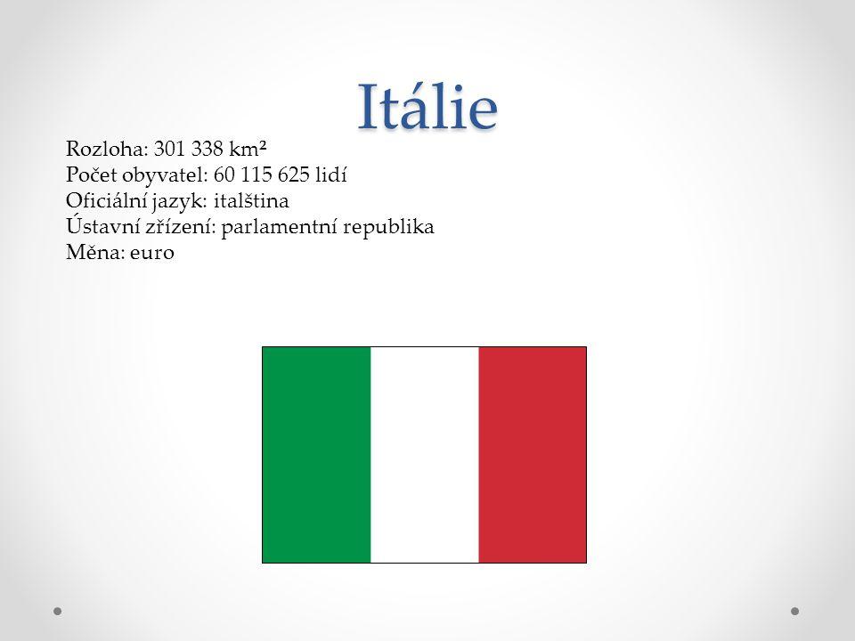 Itálie Rozloha: 301 338 km² Počet obyvatel: 60 115 625 lidí Oficiální jazyk: italština Ústavní zřízení: parlamentní republika Měna: euro