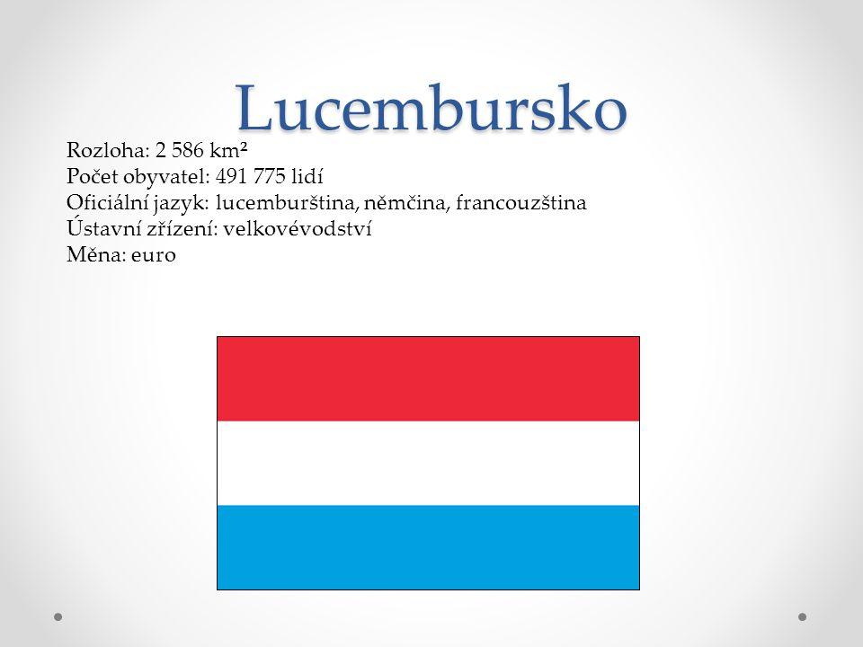 Lucembursko Rozloha: 2 586 km² Počet obyvatel: 491 775 lidí Oficiální jazyk: lucemburština, němčina, francouzština Ústavní zřízení: velkovévodství Měn