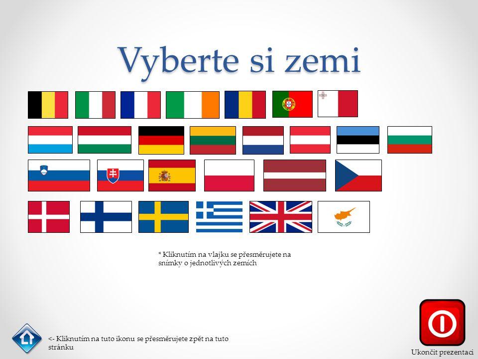 Vyberte si zemi * Kliknutím na vlajku se přesměrujete na snímky o jednotlivých zemích <- Kliknutím na tuto ikonu se přesměrujete zpět na tuto stránku