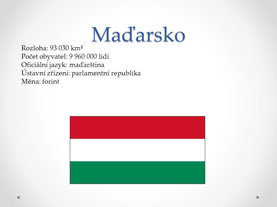 Maďarsko Rozloha: 93 030 km² Počet obyvatel: 9 960 000 lidí Oficiální jazyk: maďarština Ústavní zřízení: parlamentní republika Měna: forint