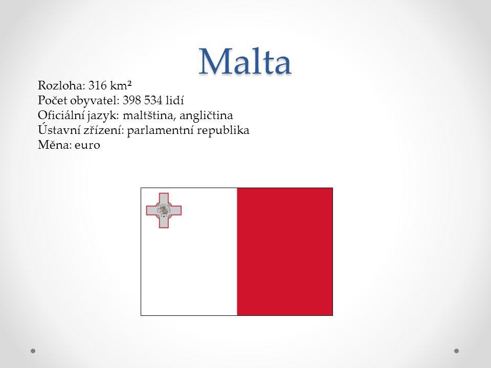 Malta Rozloha: 316 km² Počet obyvatel: 398 534 lidí Oficiální jazyk: maltština, angličtina Ústavní zřízení: parlamentní republika Měna: euro